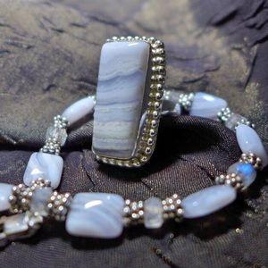 Jewelry - Crazy Lace & Moonstone Agate SET Ring + Bracelet